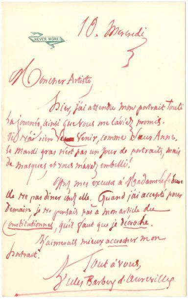 Jules BARBEY D'AUREVILLY. L.A.S., mercredi 10 [février 1875?], à «Mon cher Artiste»...