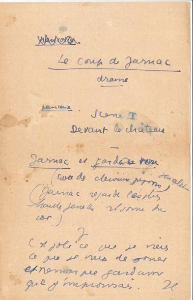 Jean ANOUILH. Manuscrit autographe, Le Coup...