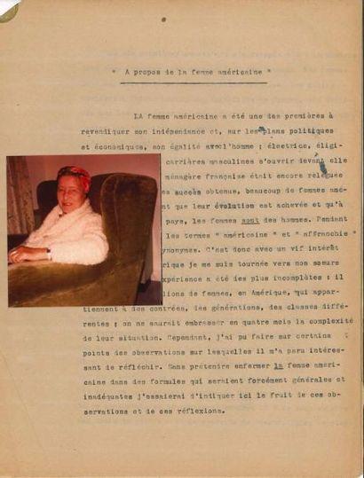 Simone de BEAUVOIR (1908-1986). Photographie...