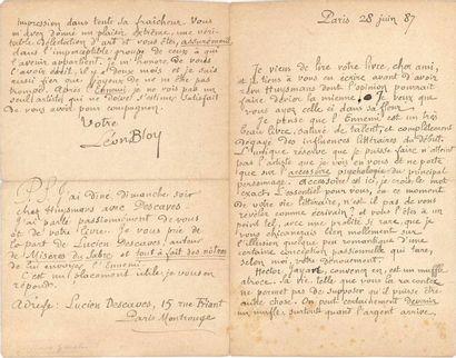 Léon BLOY (1846-1917). L.A.S., Paris 28 juin...