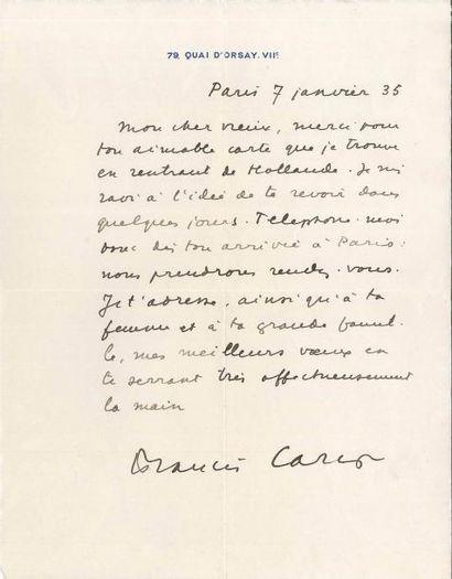 Francis CARCO (1886-1958). 2 L.A.S., Paris...