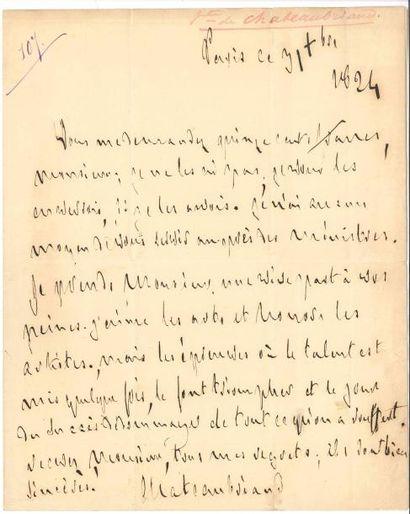 François-René de CHATEAUBRIAND. L.A.S., Paris...