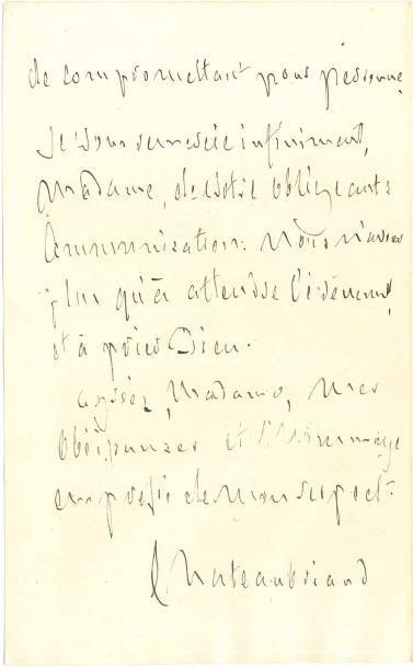 François-René de CHATEAUBRIAND. L.A.S., 27...