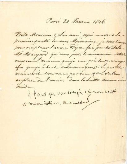 François-René de CHATEAUBRIAND. L.S. avec...