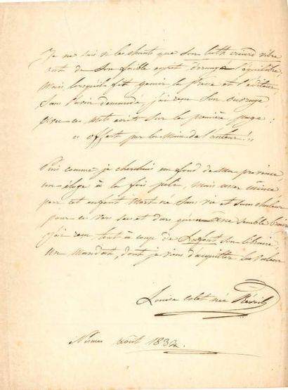 Louise COLET. Poème autographe signé, Portrait,...