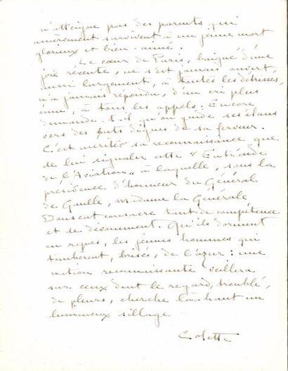 COLETTE (1873-1954). Manuscrit autographe...
