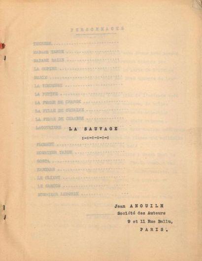 Jean ANOUILH. Tapuscrit, La Sauvage, [1934?];...