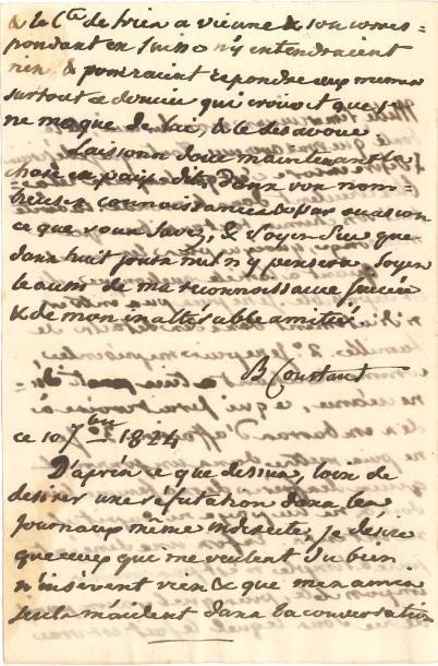 Benjamin CONSTANT (1767-1830). L.A.S., 10...