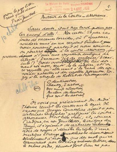 Tristan DERÈME (1889-1941). 3 manuscrits...