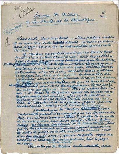 Tristan DERÈME. 3 manuscrits autographe signés;...