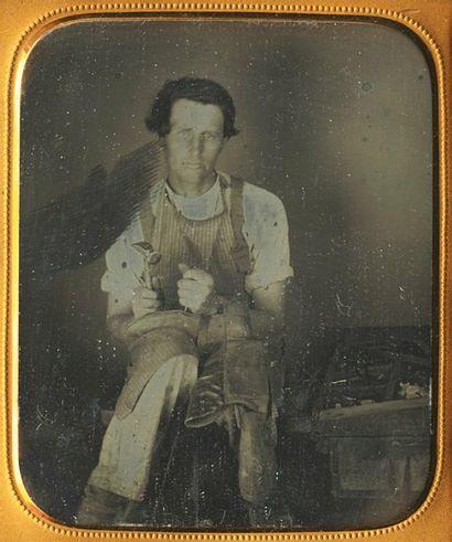Cordonnier. Etats-Unis, c. 1845. Daguerréotype...