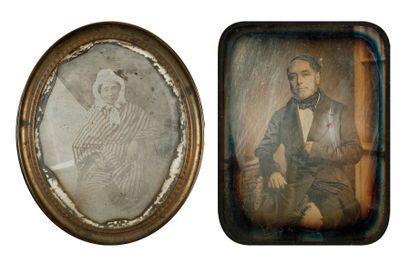 Portraits, c. 1845. Deux daguerréotypes par...