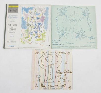 JEAN COCTEAU Ensemble de 3 pochettes. Impression...