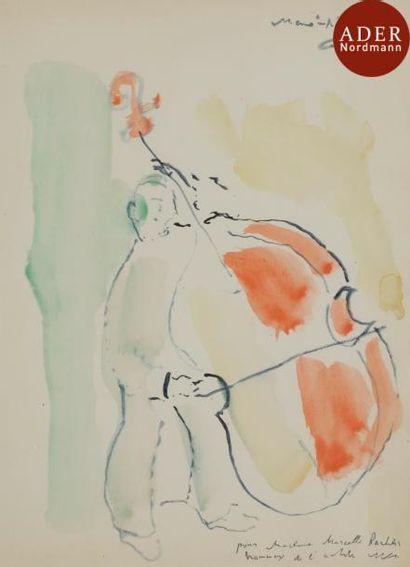 MANé-KATZ (1894-1962) Contrebassiste Aquarelle....