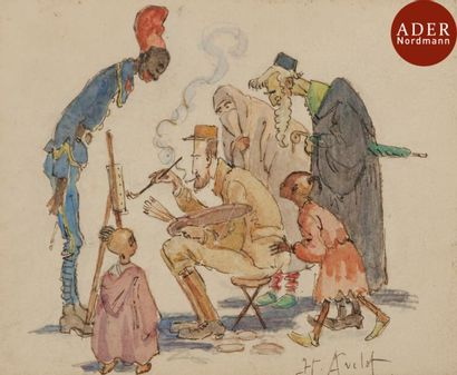 Henri Lois AVELOT (1873-1935) Le peintre...