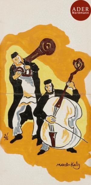 MANé-KATZ (d'après) Musiciens juifs Carreaux...