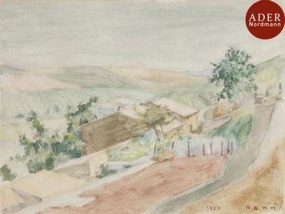 BENN (1905-1989) Paysages Ensemble de 3 dessins...