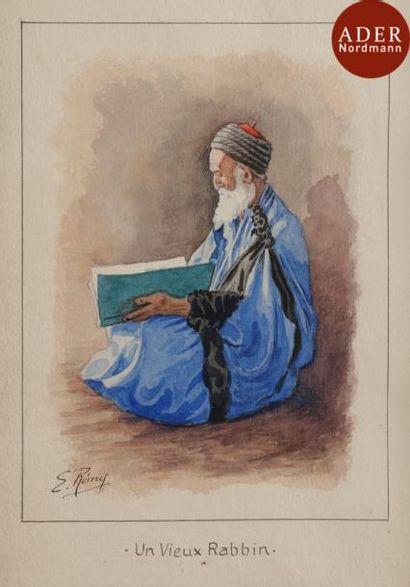 Émile REMY (1875-1944) Un Vieux rabbin Aquarelle...
