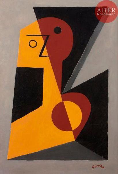 Léon GISCHIA (1903-1991) Tête ocre et jaune,...