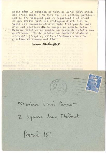 Jean DUBUFFET (1901-1985). L.S., dimanche...