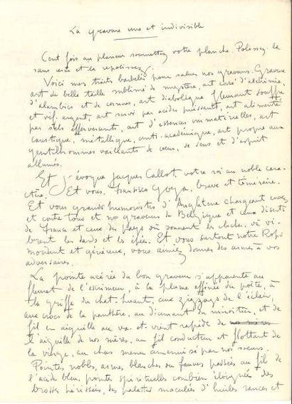 James ENSOR (1860-1949). Manuscrit autographe...