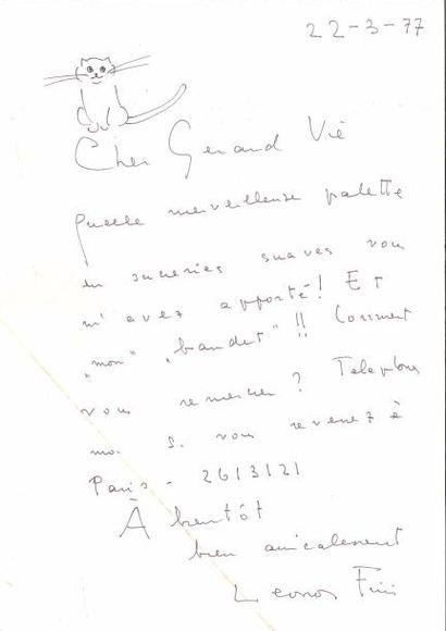 Léonor FINI (1908-1996). Carte postale a.s....