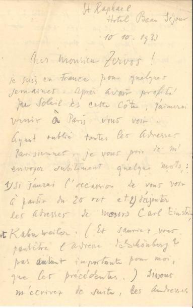 Paul KLEE (1879-1940). L.A.S., Saint-Raphaël...