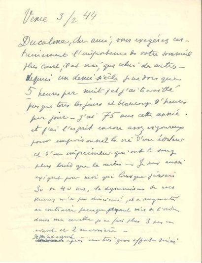 Henri MATISSE. L.A.S., Vence 3 février 1944,...