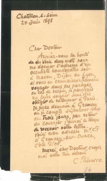 Camille PISSARRO (1831-1903). L.A.S., Châtillon-sur-Seine...