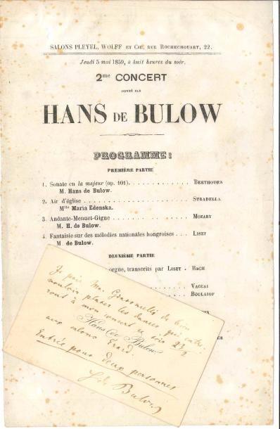 Hans von BÜLOW (1830-1894). L.A.S. sur sa...
