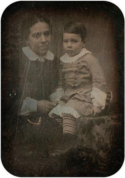 Coquet  Mère et son enfant, c. 1850.  Daguerréotype...