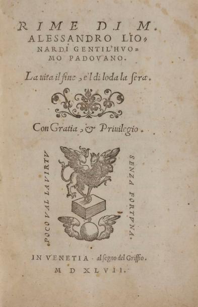 LIONARDI (Alessandro). Rime di M. Alessandro...