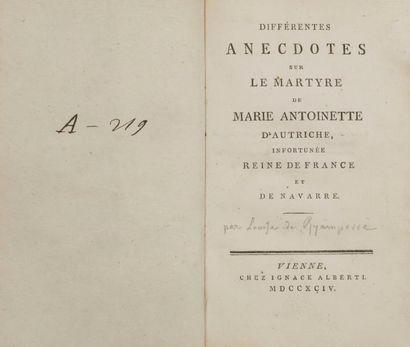 [MARIE-ANTOINETTE - RYAMPERRE (Louise de)]....