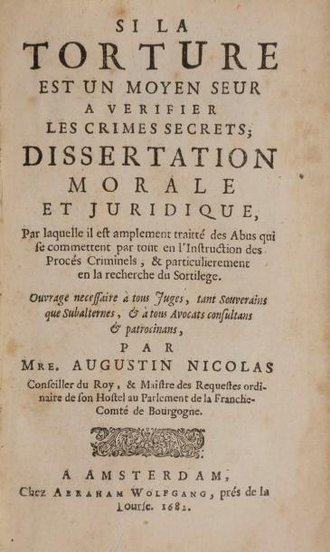 NICOLAS (Augustin). Si la torture est un...
