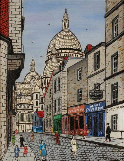André DEMONCHY (né en 1914) Montmartre, Le...