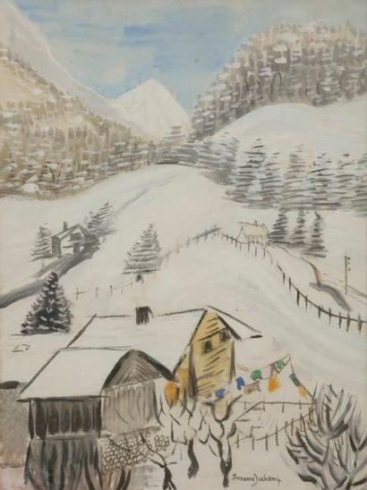 Suzanne DUCHAMP (1889-1963) Paysage enneigé...
