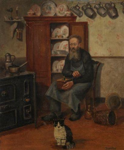 André DURANTON (1905-?) Homme au moulin à...