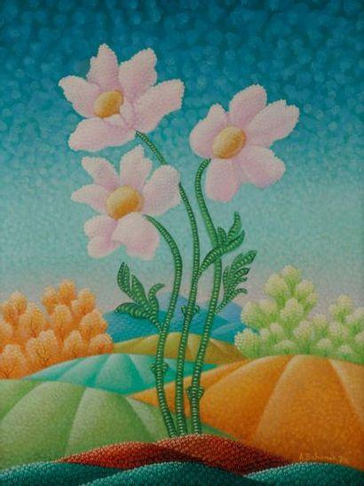 Antun BAHUNEK (1912-1985) Fleurs, 1974 Huile...