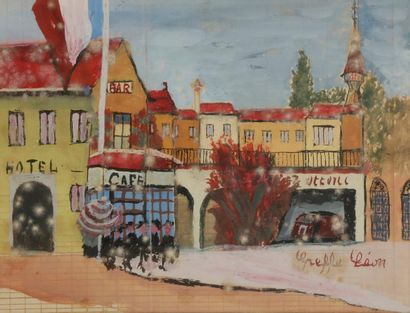 Léon GREFFE (1881-1949) Ville Gouache. Signée...