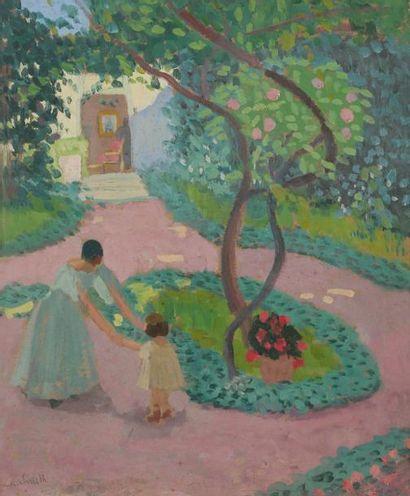 Francis SMITH (1881-1961) Femme et enfant au jardin Huile sur carton. Signée en...