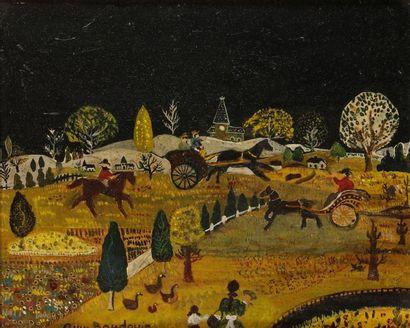 Anne BAUDOIN (XXe siècle) Paysage nocturne...