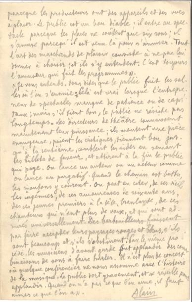 Émile Chartier dit ALAIN (1868-1951). Manuscrit...