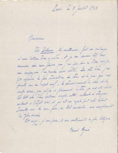 Marcel AYMÉ (1902-1967). L.A.S., Paris 5...