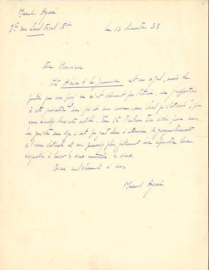 Marcel AYMÉ. 2 L.A.S., 1933-1959; ¾ page...