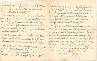 Joris-Karl HUYSMANS. L.A.S., Paris 8 février 1894, [à Camille Mauclair], 3 pages...