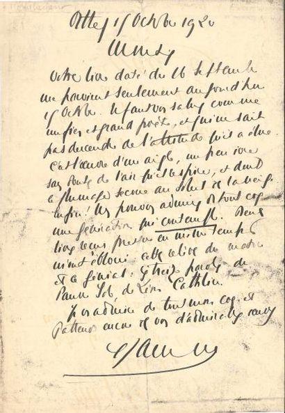 Francis JAMMES. L.A.S., Orthez 15 octobre 1920, [à Henry de Montherlant]; 1page...