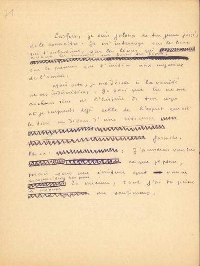 Marcel JOUHANDEAU (1888-1979). Manuscrit autographe, [1947]; 95 pages petit in-4...