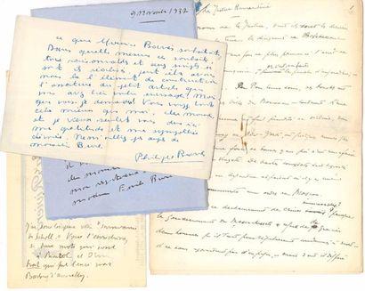 JOURNALISTES. 55 lettres, pièces ou manuscrits, la plupart L.A.S., au journaliste...