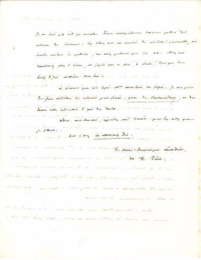 Henri LACORDAIRE (1802-1861). L.A.S., Sorèze 15 septembre 1857, au comte de Falloux;...