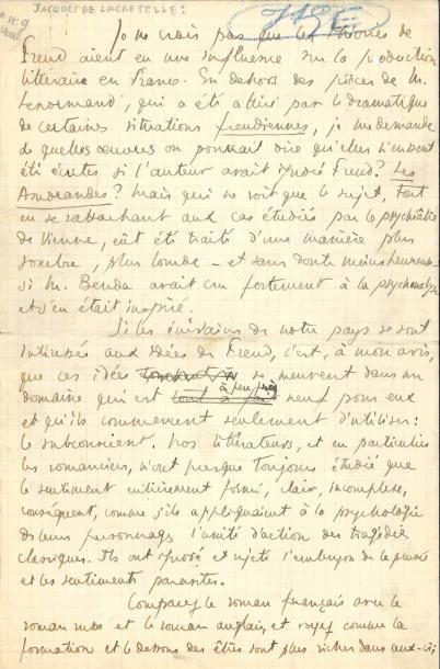 Jacques de LACRETELLE (1888-1985). Manuscrit...